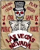 Skeleton gambler with poker cards, vector illustration — Stock Vector