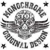 Skull Monochrome College Man Boy T shirt Design — Stock Vector