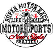 Vintage Motorbike Race Hand drawing T-shirt Printing — Vector de stock