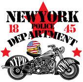 Motorcycle Skull New York Fun Man T shirt Graphic Design — Stock Vector