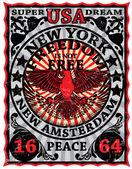 New York Vintage Eagle Poster Man T shirt Graphic Design — Stock Vector