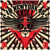 Skull New York Fun Man T shirt Graphic Design — Stock Vector