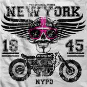 Motorcycle Skull New York Fun Man T shirt Graphic Design — Stock Vector