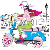 Teenage scooter girl — Stock Vector