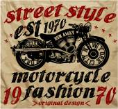 Vintage Motorbike Race Hand drawing T-shirt Printing — Vetor de Stock