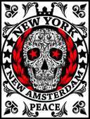 Skull New York Fun Man T shirt Graphic Design — Vecteur