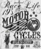Motorcycle raceway typography, t-shirt graphics, vectors — Stock Vector