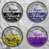 Vector commercial stamps set in vintage style for business and design on white background with grunge effect — Stok Vektör