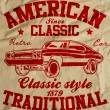 Old American Car Vintage Classic Retro man T shirt Graphic Desig — Stock Vector #66221299