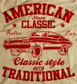 Old American Car Vintage Classic Retro man T shirt Graphic Desig — Stock Vector