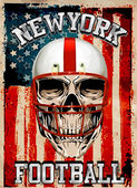 American football Skull Vintage vector print for boy sportswear — Stock Vector