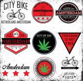 Amsterdam Netherlands graphic vector set — Stock Vector