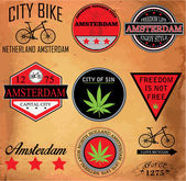 Amsterdam Netherlands graphic vector set — Stock Vector