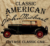 Old American Car Vintage Classic Retro man T shirt Graphic Desig — Vector de stock