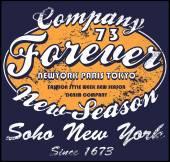 Vintage Fashion Logo Emblem T shirt Graphic Design — Stock Vector