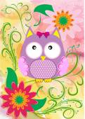 Vector illustration with owl and flowers — Stock Vector