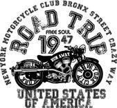 Vintage motosiklet t-shirt grafiği — Stok Vektör