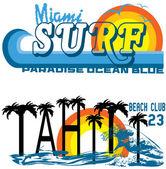Tropical set miami and tahiti — Stock Vector
