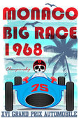 Vintage race car for printing.vector old school race poster.retr — Stock Vector