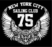 New york city sailing club vector art — Stock Vector