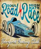 Vintage race car for printing.vector old school race poster.retr — ストックベクタ