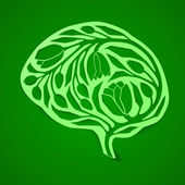 The concept of environmental awareness, thinking green, landscape gardening learning. Abstract human brain — Stockvektor