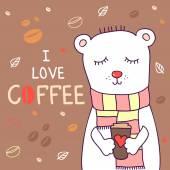 Teddy bear on coffee background. — Stock Vector