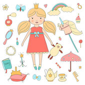 Vintage My little princess set. — Stock Vector