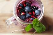 Jar of homemade fruit smoothie — 图库照片