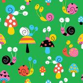 Snails & mushrooms pattern — Stock Vector
