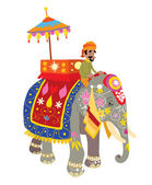 Decorated Elephant at Indian Festival — Stock Vector