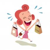 Happy woman shopping — Stock Vector