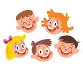 Happy kids faces — Stock Vector