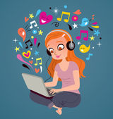 Girl with headphones and laptop — Stock Vector