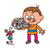 Boy filming butterfly — Stock Vector