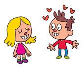 Boy falling in love — Vettoriale Stock