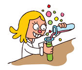 Schoolgirl chemistry test — Stock Vector