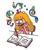 School Girl homework imagination — Stock Vector
