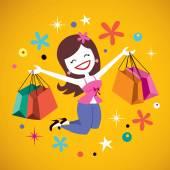幸せな女の子のショッピング — ストックベクタ