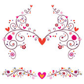 Heart flowers elements ornament — Stock Vector