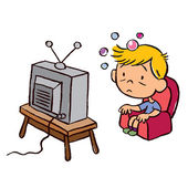 Child addicted to television — Vettoriale Stock
