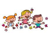 Happy children running — Διανυσματικό Αρχείο