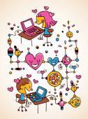 Internet love — Stock Vector