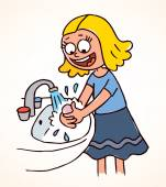 Little girl washing hands — ストックベクタ