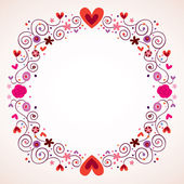 Decorative hearts and flowers frame — Stock Vector
