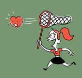 Girl hunts for love — Vettoriale Stock