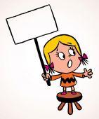 Little girl holding empty banner — Stock Vector