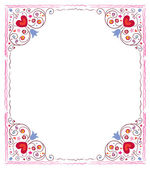 Decorative hearts and flowers frame — Cтоковый вектор
