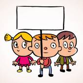 Three kids with empty banner — Stock Vector