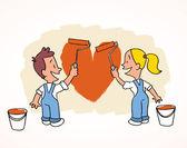 Happy couple paint new apartment — Stock Vector
